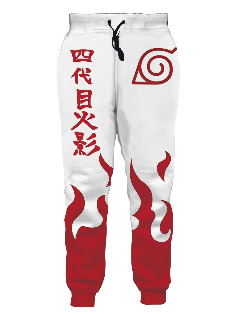Ocsoc Unisex Novelty Joggers Sweatpants Naruto Cool Anime Uzumaki Fire Graphic with Adjustable Waist Baggy Trousers