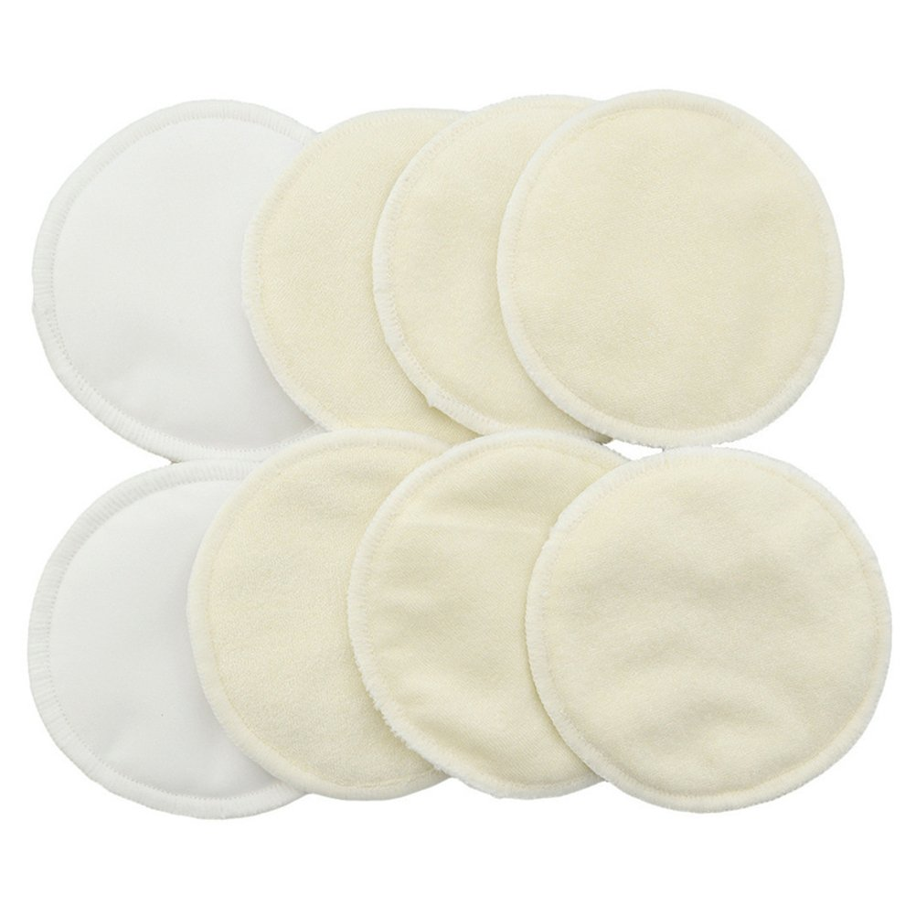 LUOEM 8pcs Nursing Pads Washable Organic Bamboo Breastfeeding Pads Leakproof Reusable Pads 9C7U11060132SSU5094