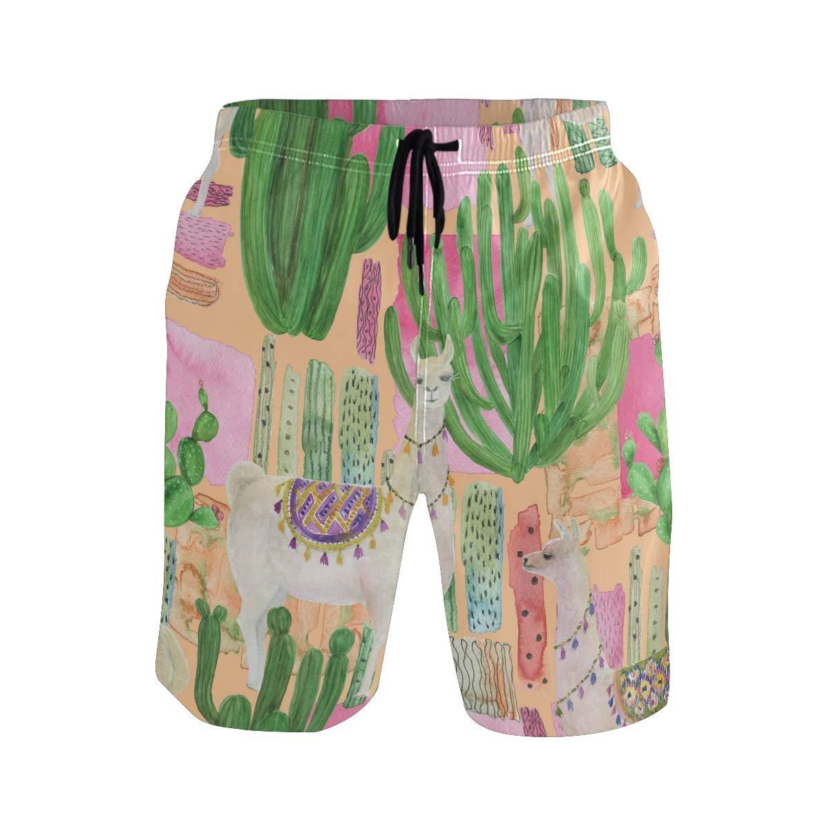 AUUXVA Mens Swim Trunks Animal Llama Alpaca Cactus Quick Dry Beach Shorts Summer Surf Board Shorts