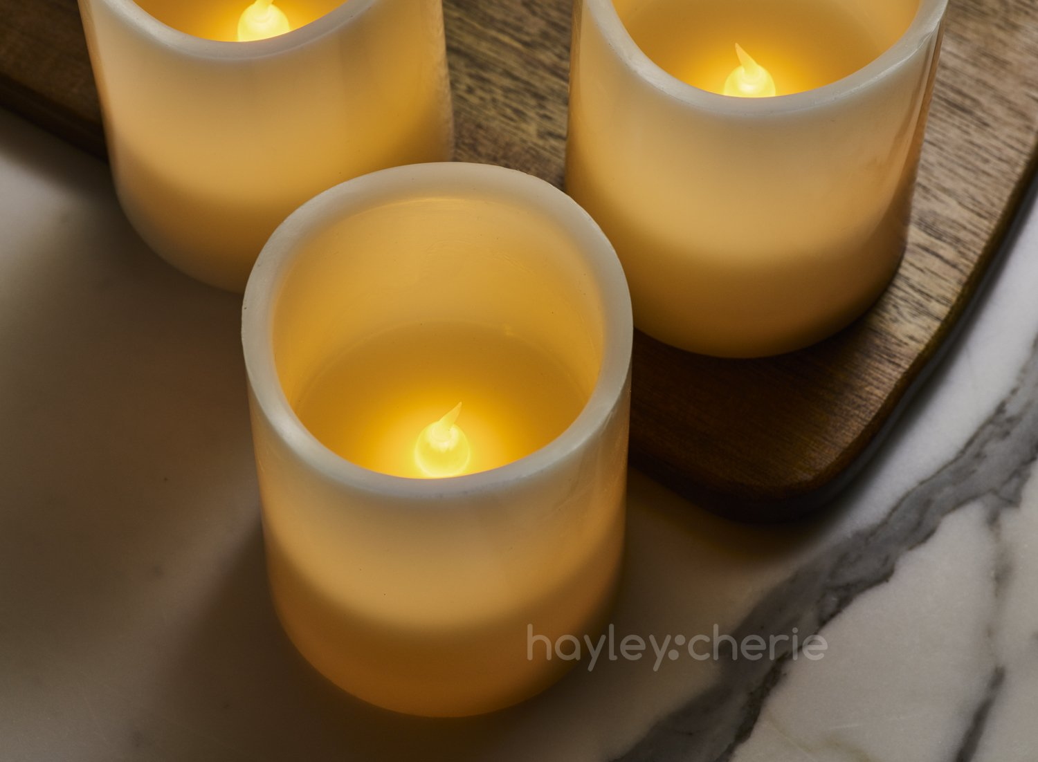 "Hayley Cherie - Real Wax Flameless Candles with Timer (Set of 6) - Ivory LED Candles 3"" wide x 4"" tall - Flickering Amber Flame - Battery Operated Pillar Candles - Large Unscented by Hayley Cherie (Image #6)"