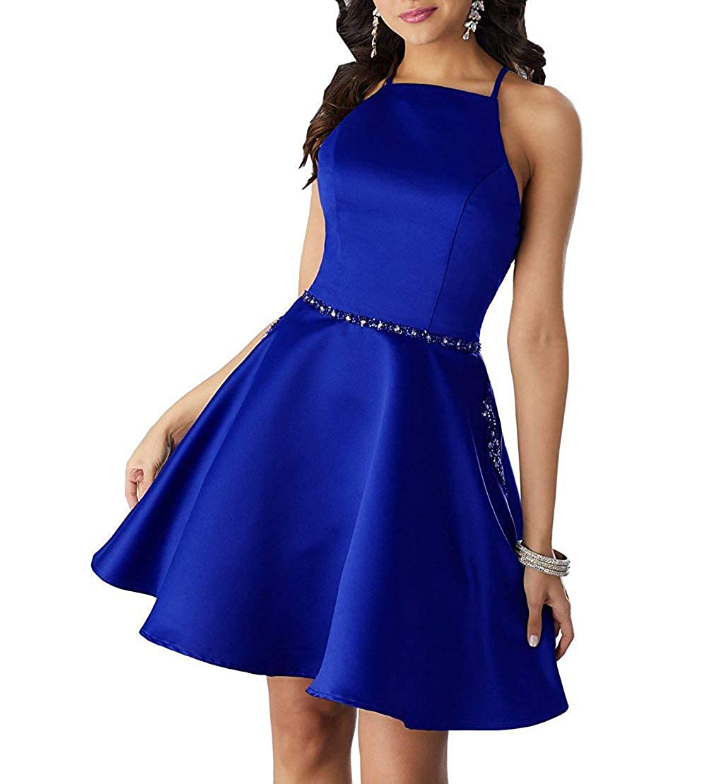 Royal bluee ALine Satin Halter Short Party Dress with Beading Homecoming Dress Prom Gown