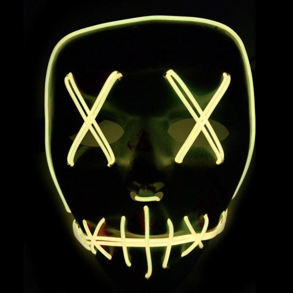 Halloween Máscara LED Ligero Gracioso Máscaras Estupendo Festival Cosplay Disfraz Suministros Fiesta Máscaras Brillan en la Oscuridad (Azul)
