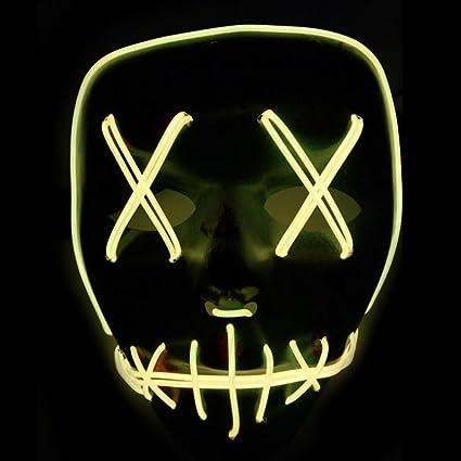 Xdffy Halloween Máscara LED Ligero Gracioso Máscaras Estupendo Festival Cosplay Disfraz Suministros Fiesta Máscaras Brillan en la Oscuridad (Verde): ...