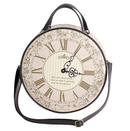 MYYDD Mochila de Las Mujeres, Vintage Viento Imprimir Reloj Bolsa Mochila Lolita Bolsa de Hombro