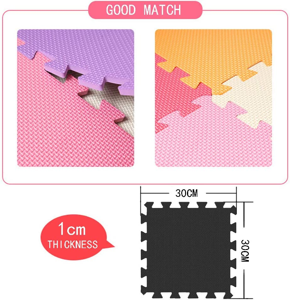 MQIAOHAM children puzzle mat play mat squares play mat tiles baby mats for floor puzzle mat soft play mats girl playmat carpet interlocking foam floor mats for baby white purple 101111