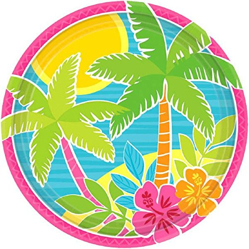 (Sun-Sational Summer Luau Party Beach Summer Scene Round Plates Tableware, Paper, 7