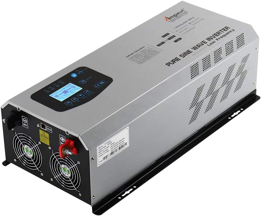 AMPINVT 6000W Peak 18000W Pure Sine Wave Power Inverter Charger DC 24V to 120V/240V AC Output RV Converter with Battery AC Charger LCD Display,Low Frequency Solar Inverter
