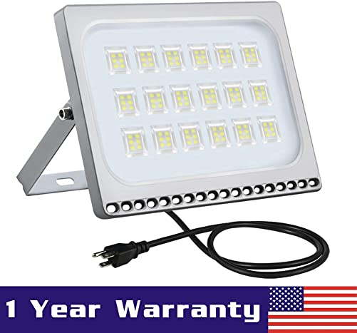 100W LED Flood Light, 8000LM Super Bright Flood Light, IP67 Waterproof Outdoor Work Lights, 6000k Cold White Security Lights, Outdoor LED Floodlight for Garage Yard Garden Lighting with US 3-Plug 110