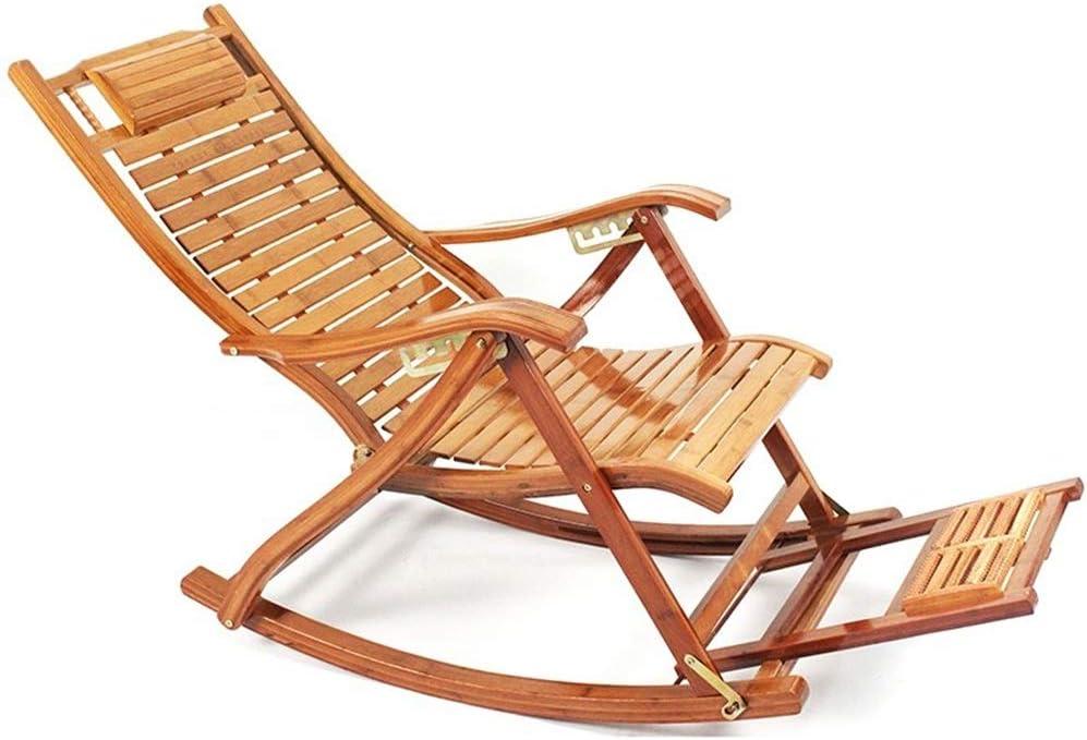 Tumbonas HAIYU- Mecedora Plegable de Bambú, Jardín con Tablero de Masajes, Silla Reclinable Ajustable, Sillón Reclinable para Terraza Exterior (Color : Chair)