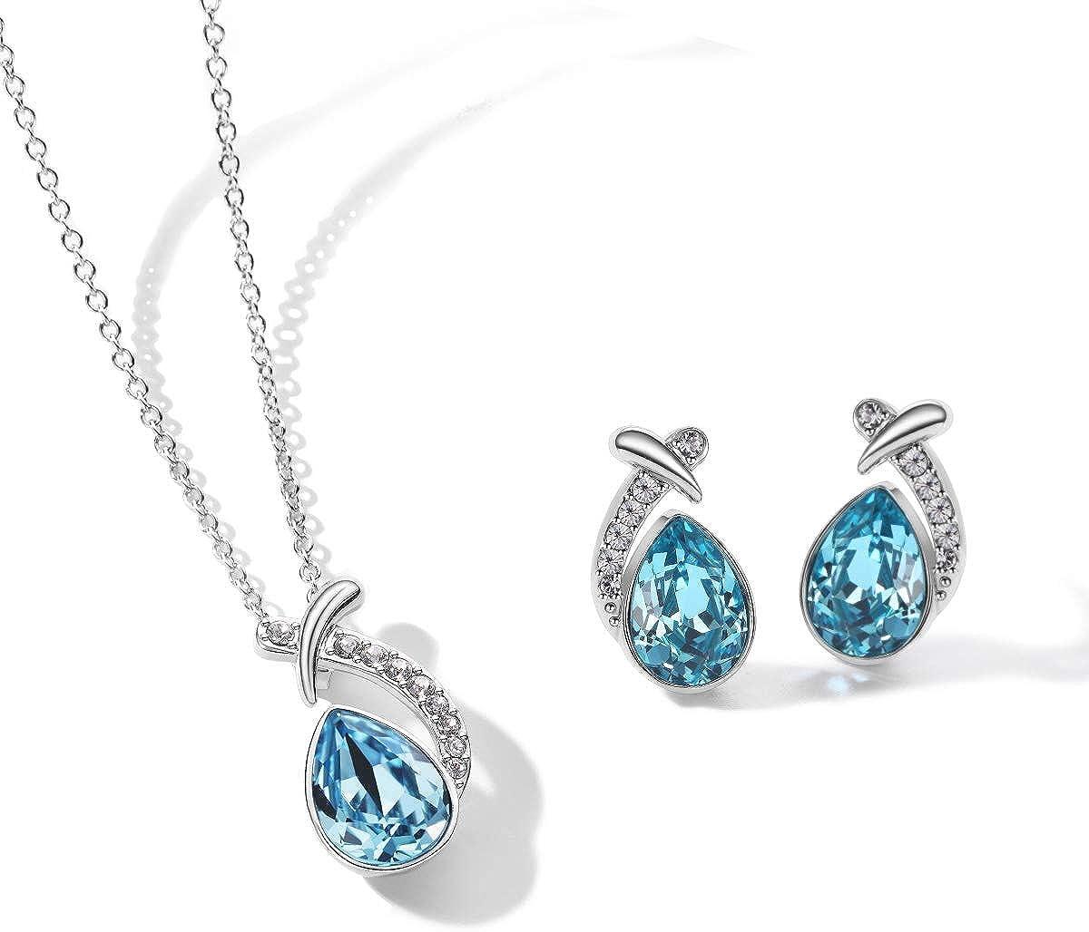 T400 Blue Waterdrop Crystal Pendant Necklace & Stud Earrings Jewelry Set Birthday Gift for Women Girls