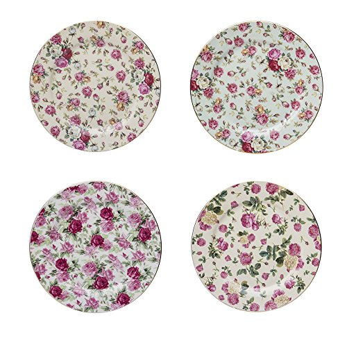 Gracie China Rose Chintz Porcelain 8-Inch Dessert Plate Set of 4, Assorted Four ()