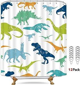 Riyidecor Dinosaur Shower Curtain Colorful Cartoon Thicken Heavy Duty Animal Kids Baby Nursery 12 Pack Metal Hooks Funny Cute Weighted Hem Decor Bathroom Set Polyester Waterproof 72x72 Inch