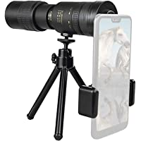 4K 10-300X40mm Super Telephoto Zoom Monocular Telescope, Waterproof Fogproof Night Vision Monocular with Smartphone…