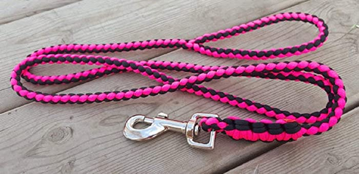 Amazon com: 4 Strand Round Braid Paracord Dog Leash -Pink