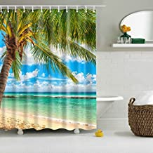 GWELL Coconut Palm Tree on Sand View Shower Curtain Polyester Fabric Bathroom Set with 12 Hooks (70.86X70.86-Inch, #4)