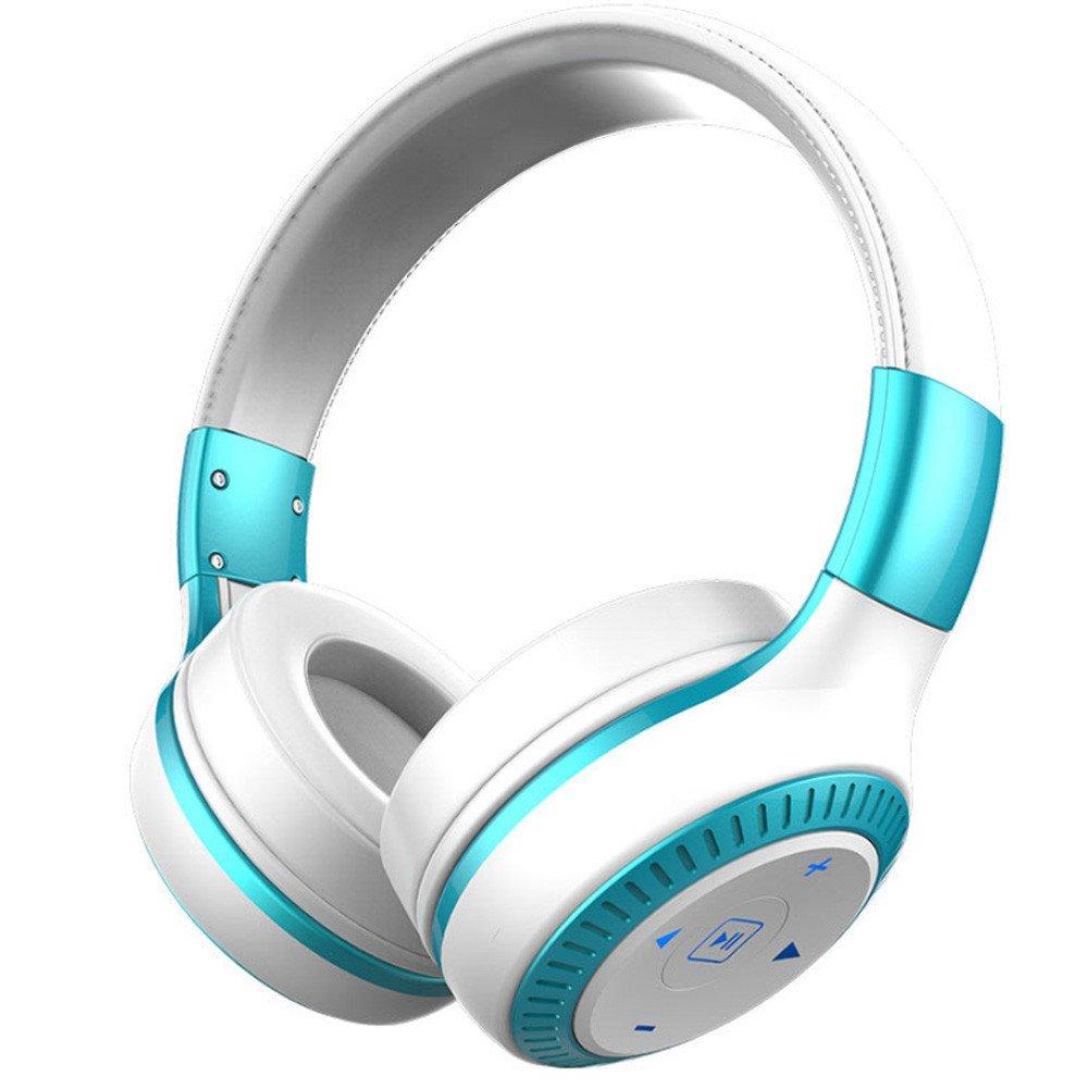 Bluetoothヘッドフォン オーバーイヤー Hi-Fiステレオワイヤレスヘッドセット 折りたたみ式 ソフトメモリープロテインイヤーマフ 内蔵マイク付き PC/携帯電話/テレビ用  ホワイト B07PQDNTYK