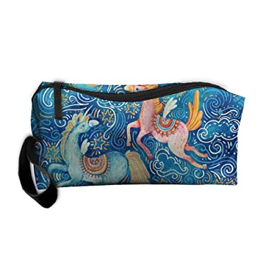 Magic Flying Unicorns Blue Sky Pattern Makeup Bag Printing Girl Women Travel Portable Cosmetic Bag Sewing Kit Stationery Bags Cute Storage Pouch Bag Multi-function Bag