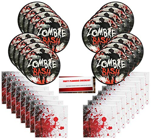 Bloody Zombie Scary Halloween Party Supplies Bundle Pack for 16 Guests (Plus Party Planning Checklist by Mikes Super Store)]()