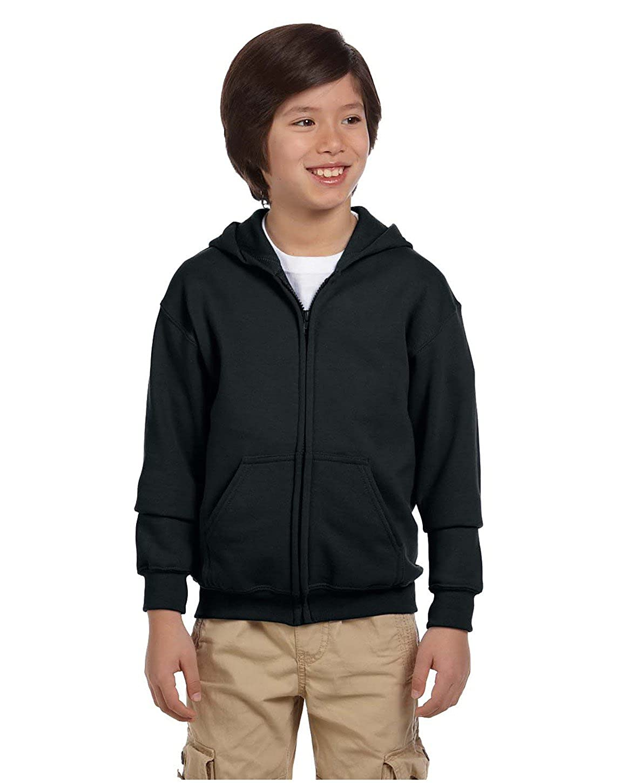 50//50 Full-Zip Hood Black XS Gildan Heavy Blend Youth 8 oz