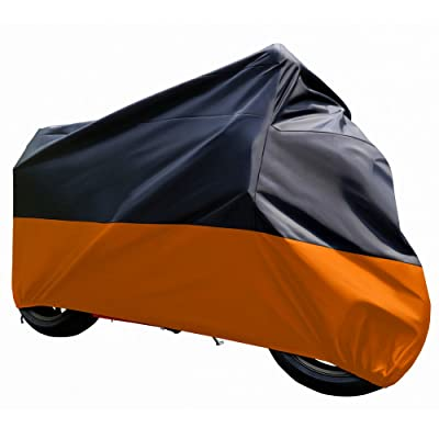 "Tokept Black and Orange Waterproof Sun Motorcycle cover (XXXL).116"" for Honda Kawasaki Yamaha Suzuki Harley Davidson: Automotive"