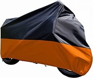 "Tokept Black and Orange Waterproof Sun Motorcycle cover (XXXL).116"" for Honda Kawasaki Yamaha Suzuki Harley Davidson"