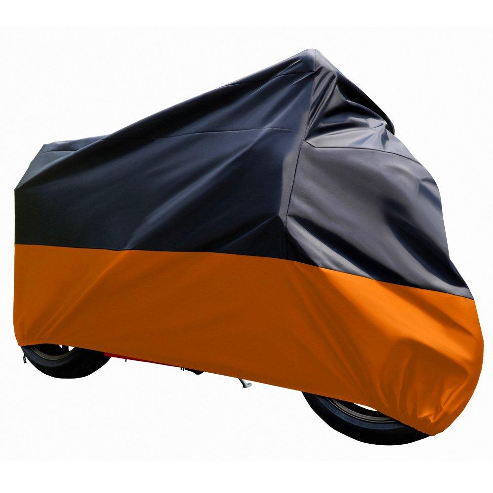 Tokept Black and Orange Waterproof Sun Motorcycle cover (XXXL).116'' for Honda Kawasaki Yamaha Suzuki Harley Davidson by Tokept