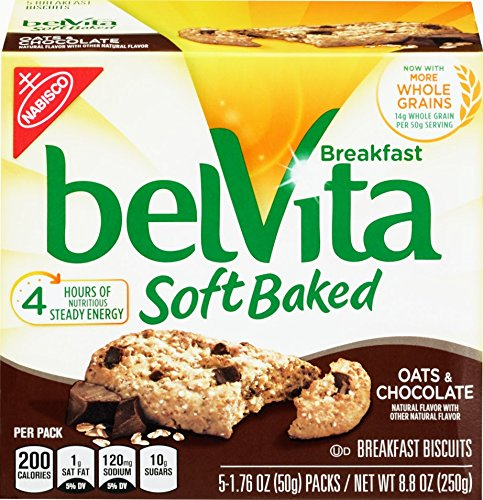 belVita Oats & Chocolate Soft Baked Breakfast Biscuits, 5 Count Box, 8.8 Ounce (Pack of 6) (Best Oats For Cookies)