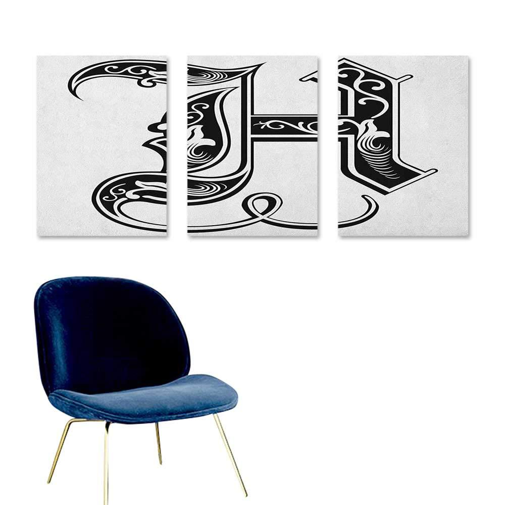 J Chief Sky Letter H,Canvas Art Posters Majuscule H with Rococo Influences Ancient Literature Language Theme Monochrome Posters Art Black White W24 x L48