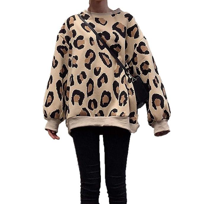 Freestyle Otoño Invierno Mujeres Suelto Sudaderas Casual Cuello Redondo Manga Larga Camisetas Sweatshirt Jumpers Jerséis Joven Moda Leopardo Impresion ...