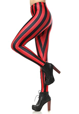 Women Black and Red Vertical Striped Leggings at Amazon Women's ...