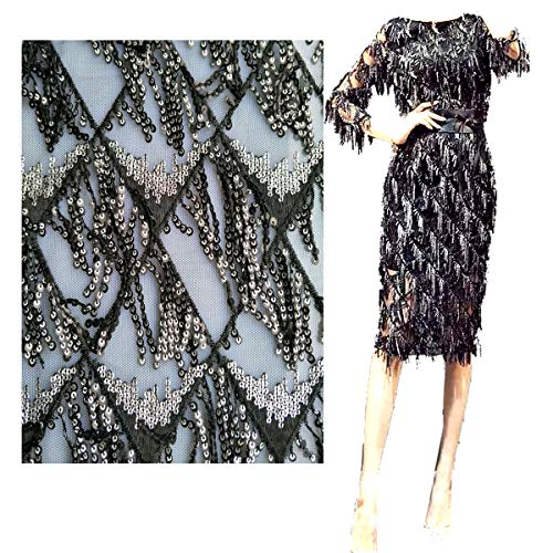 Fongbay African Lace Fabric 5 Yards Embroidery and Sequin Tassel Lace Fabrics Suitable for Party Wedding Dress Handmade DIY (Black) - Black Tassel Fabric