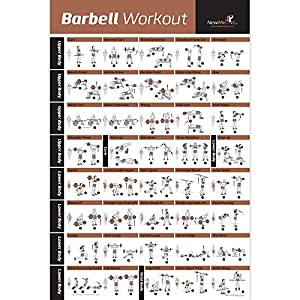 NewMe Fitness Barbell Workout Exercise Poster Laminated – Home Gym Weight Lifting Chart – Build Muscle Tone & Tighten – Strength Training Routine – Body Building Guide w/Free Weights & Resistance