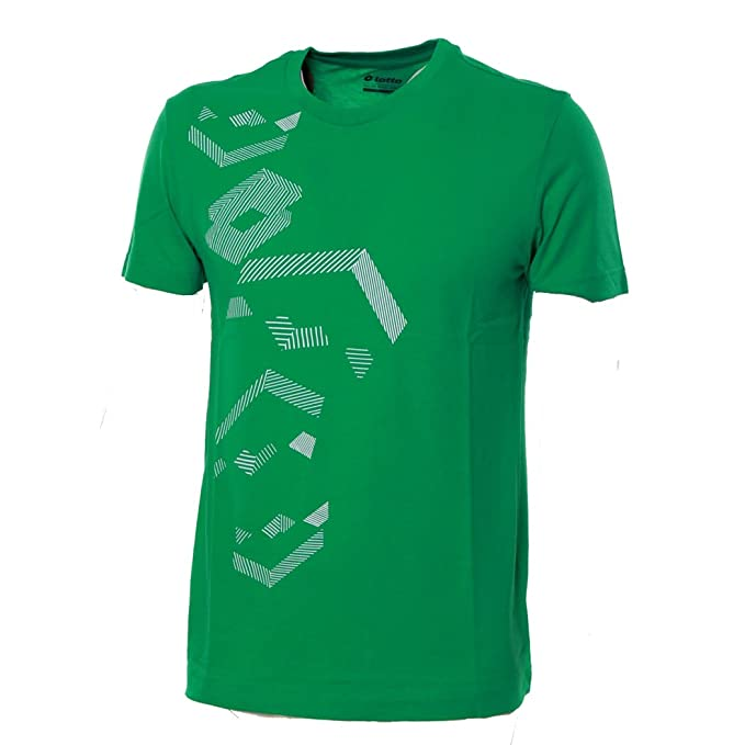 Lotto Camiseta para Hombre Camiseta algodón Cuello Redondo Sport Playa Fútbol Barca Losanga Verde XL
