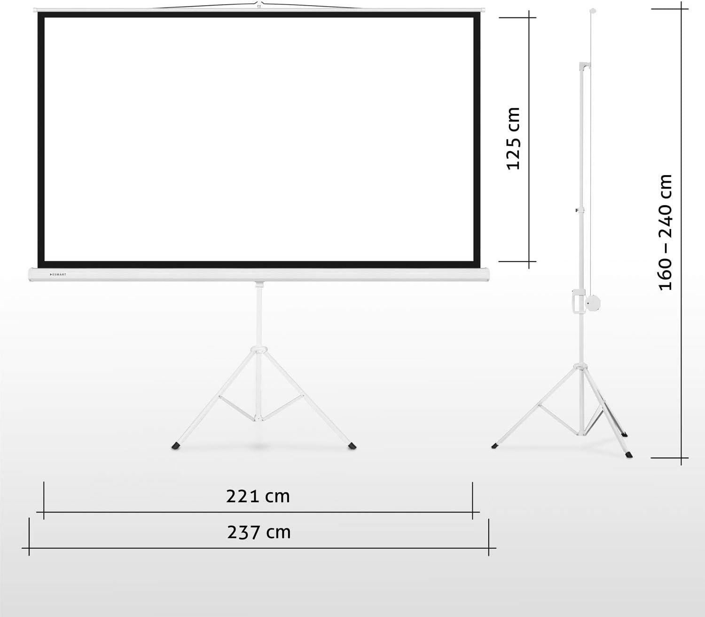 16:9 92 Heimkino Beamer Projektionsleinwand Stativ Leinwand LCD LED eSmart Germany MISATI Stativ-Leinwand Gr/ö/ßenauswahl 203 x 114 cm Vollmaskierung