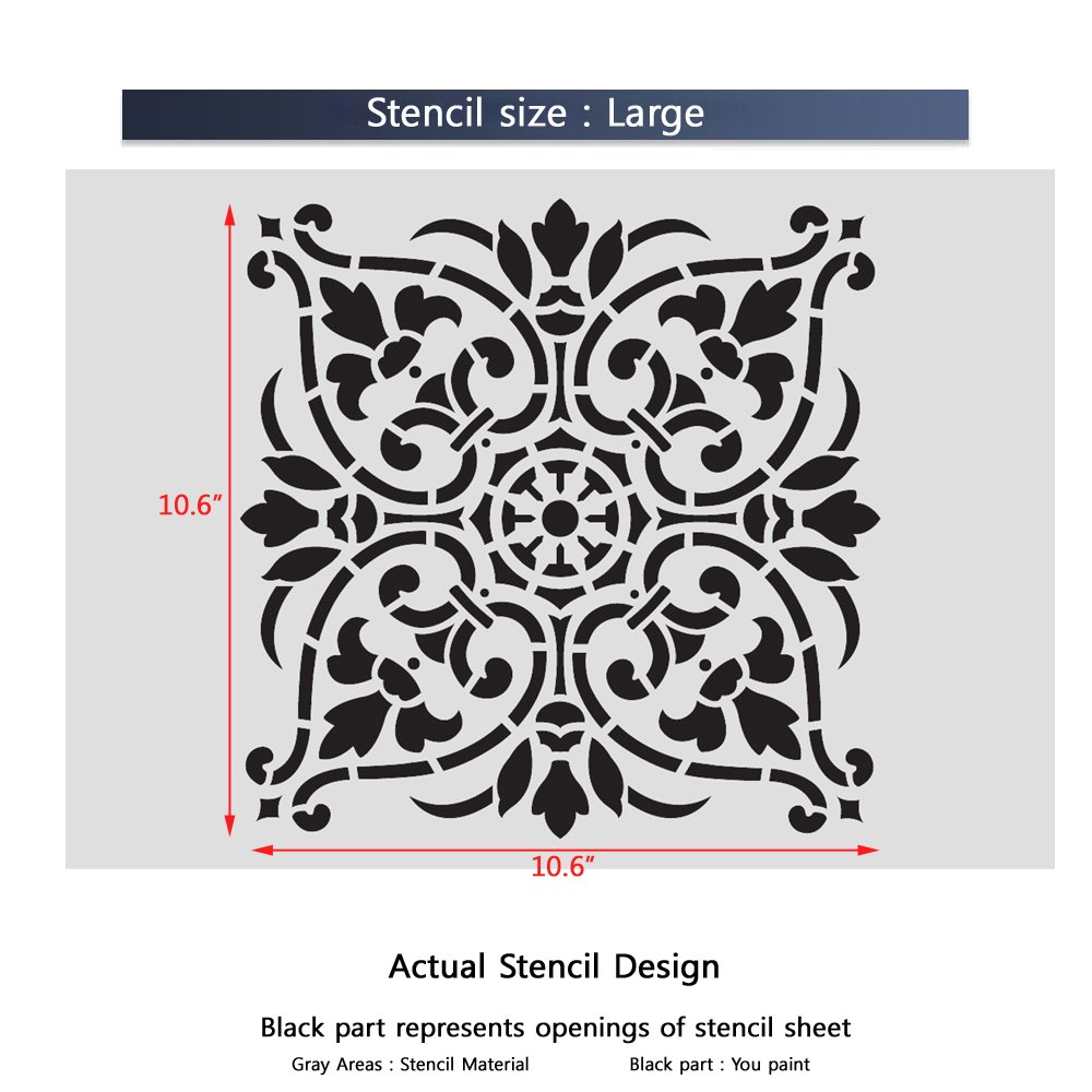 Amazon j boutique stencils damask wall stencil large size amazon j boutique stencils damask wall stencil large size reusable stencil for home diy decor faux mural v0011 arts crafts sewing amipublicfo Image collections