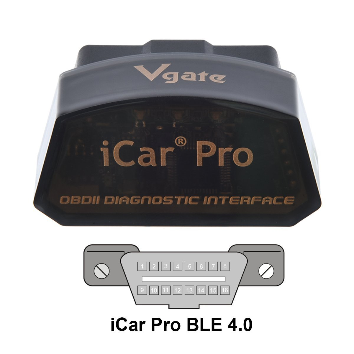 Vgate iCar Pro BLE 4.0 OBD2 Diagnostic Tool Fault Code Reader OBDII ELM327 Compatible Car Adapter Check Engine Light for iOS iPhone iPad//Android