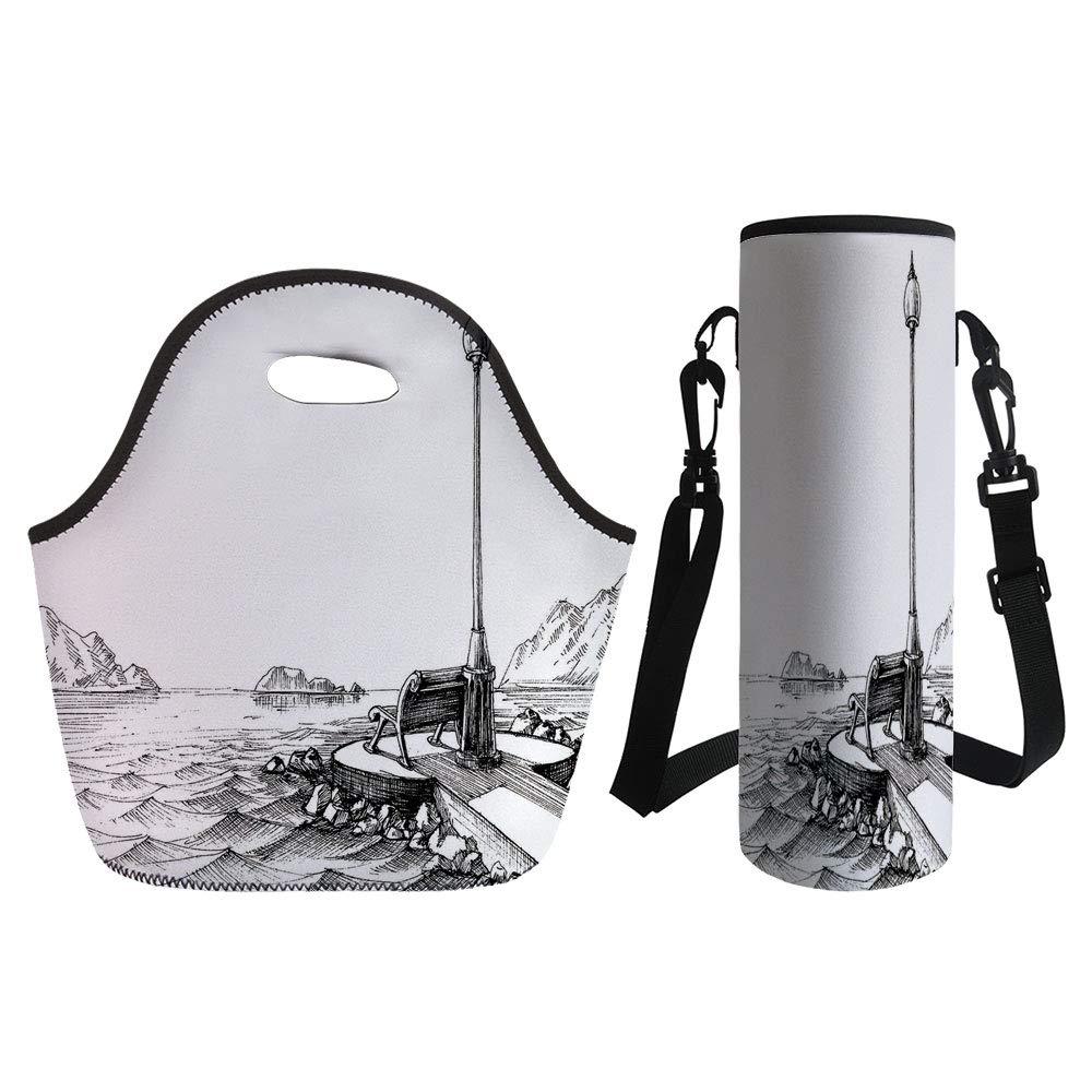 Amazon com: 3D Print Neoprene lunch Bag with Kit Neoprene Bottle