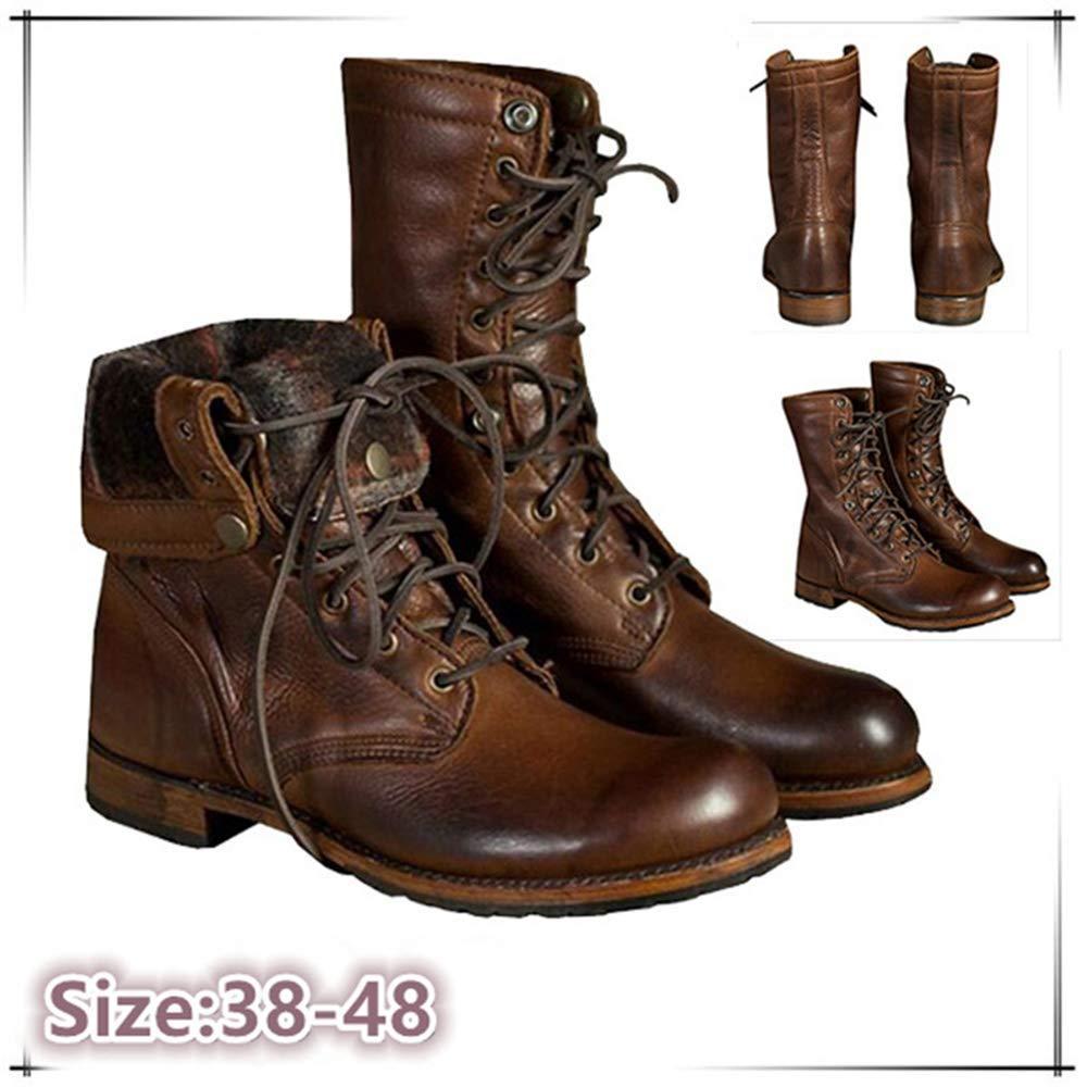 MEHOUSE Bottes Homme Boots en Cuir Imperméable Chaussures à Lacets Bottes de Moto Bottes & Bottines Classiques Homme Cheville Résistance à l'usure
