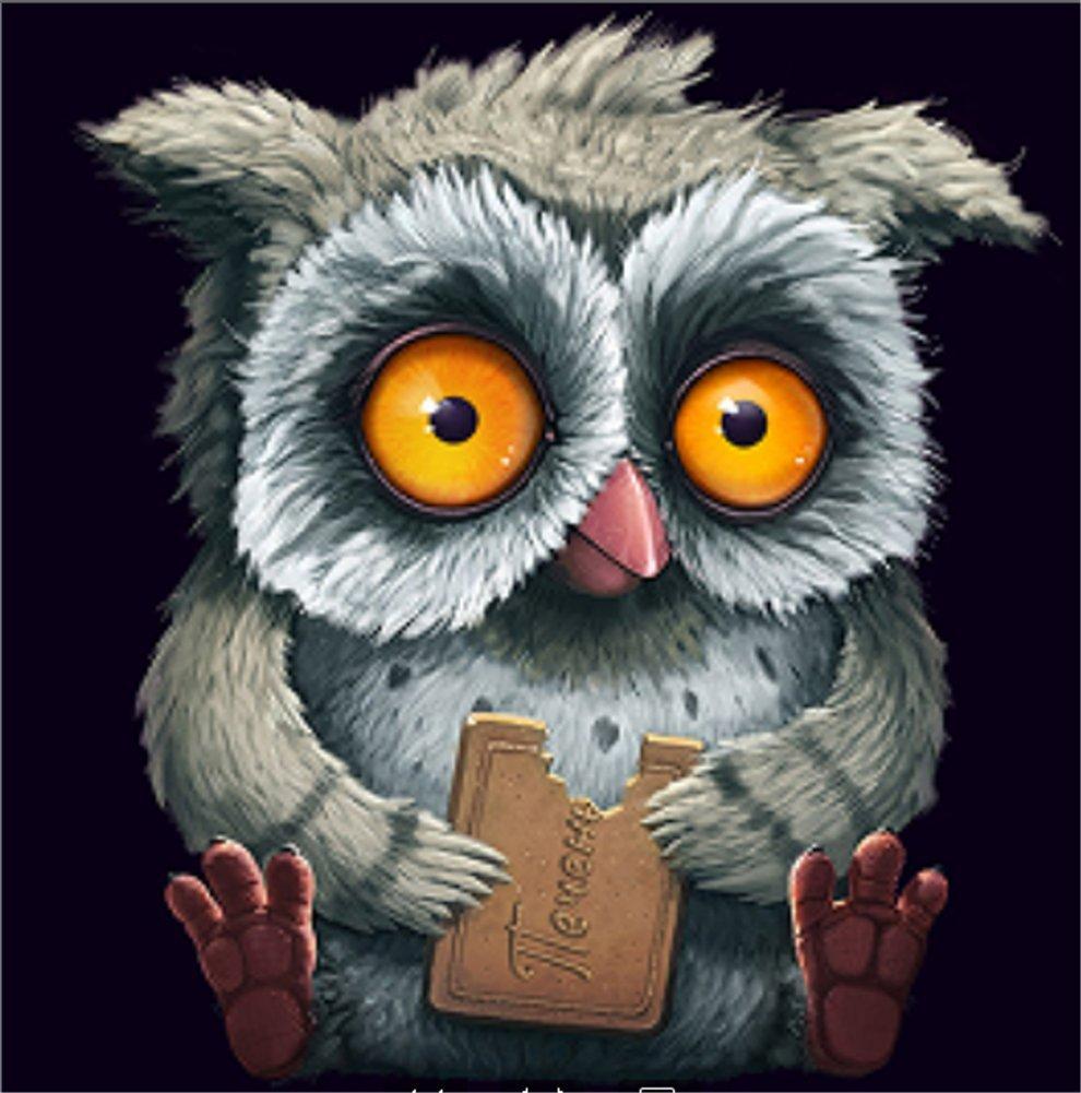 YEESAM ART New 5D Diamond Painting Kit - Plush Owl - DIY Crystals Diamond Rhinestone Painting Pasted Paint by Num
