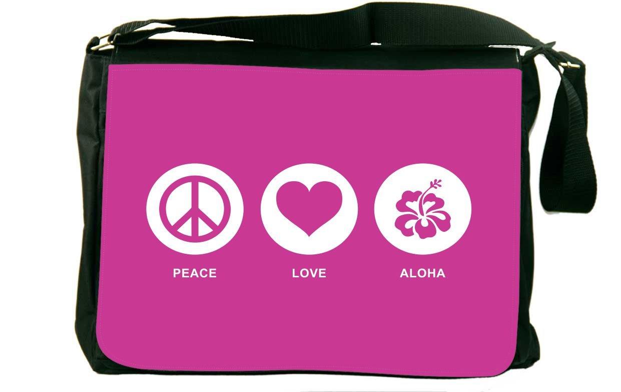 Rikki Knight Peace Love Aloha Rose Pink Color Messenger Bag School Bag