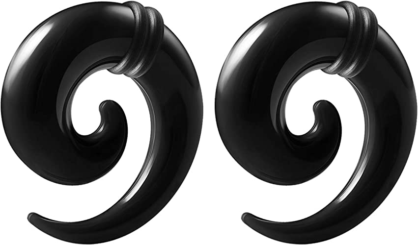 Awinrel Stainless Steel Ear Gauge Taper Stretching and Single Flare Plugs Flesh Tunnel Kit with O-Ring 2 Pairs