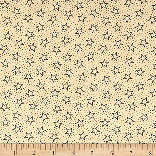 (Santee Print Works Patriotic 108'' Quilt Backs Star Dot Fabric, Navy/Antique, Fabric By The Yard)