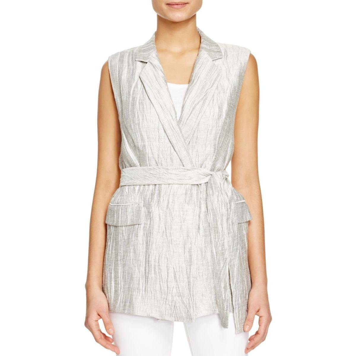 Lafayette 148 New York Womens Metallic Belt Vest Silver M