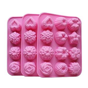 Molde de silicona para horno para tarta, chocolate, gelatina, pudín, postre, 12 agujeros con flor, forma de corazón, juego de 3: Amazon.es: Hogar