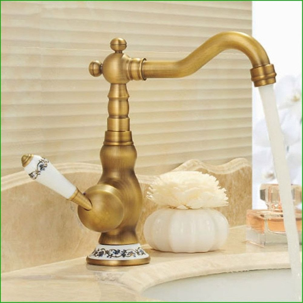 Bathroom Sink Taps 360 Degree redary Retro Full Copper Drawing Basin Head, Kitchen Hot And Cold Taps Ceramic Handle