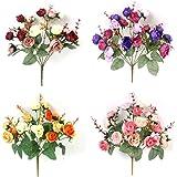 ZTTLOL 1 Ramo 21 Cabezas Concisas Flor de Seda Artificial de Seda Hoja para el Banquete de Bodas Home Garden Flores Falsas Decoración