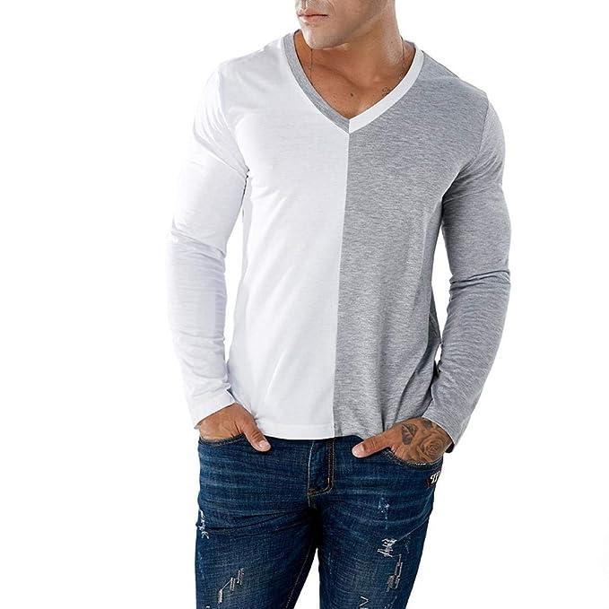 ❤️AIMEE7 Camisetas Hombre Manga Larga Casual Camisetas De Hombres Sueltos Camisetas Hombre Cuello V: Amazon.es: Ropa y accesorios