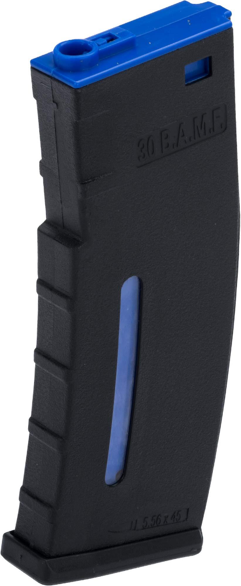 Evike BAMF 30rd Polymer Mil-Sim Airsoft Magazine for M4 / M16 Series AEG Rifles (Color: Black & Blue / x1 Single Mag) by Evike