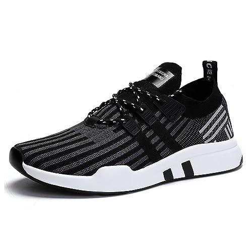 Zapatillas Correr en Asfalto Hombre Casual Mesh Respirable Sneakers Deportes Outdoor Running Shoes Negro Rojo 39-46: Amazon.es: Zapatos y complementos