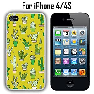 Fashion Cactus Plants Pattern Custom Case/ Cover/Skin *NEW* Case for Apple iPhone 4/4S - White - Rubber Case (Ships from CA) Custom Protective Case , Design Case-ATT Verizon T-mobile Sprint ,Friendly Packaging - Slim Case by ruishername